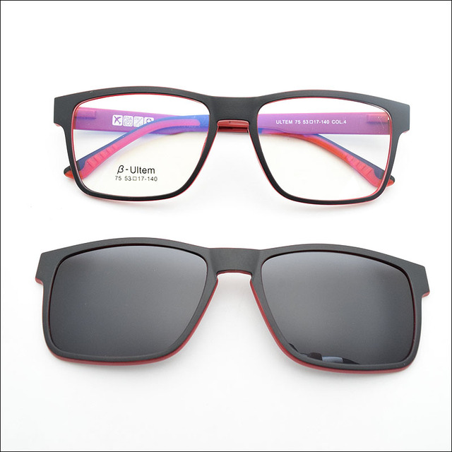 5b1af69789c8 New hot ultem glasses double frame equipped with Magnet Clip set black  Polarized Sunglasses Functional Glasses