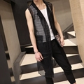 2016 New men clothing Male Gd summer gauze vest medium-long ultra-thin cutout vest outerwear waistcoat costume singer costumes