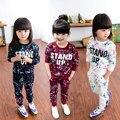Ropa de las muchachas Fija O-cuello de Impresión Sudaderas Con Capucha y Pantalones de Ocio 2-7 T Niños Chándal Deporte Uniforme Elegante Hip Hop ropa Vetement