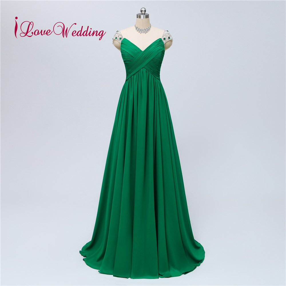 iLoveWedding New Arrival Luxury Long Evening Dress 2019 Beaded Robe De Soiree Green Vestido De Festa