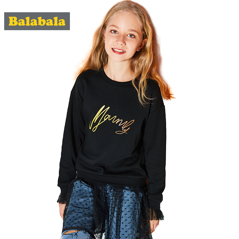 цена на Balabala long sleeve girls dresses with colorful letter Applique children clothing girl kids clothes lace dress for girls
