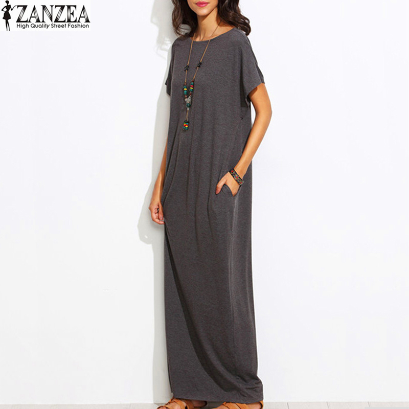 1e097b29d75 2018 ZANZEA Womens Summer O Neck Solid Vintage Short Sleeve Casual Loose  Sexy Ladies Tunic Baggy Maxi Long Dress Plus Plus Size