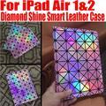 20 Шт./лот DHL Свободный Мода Роскошные Алмазный Блеск Смарт кожаный Case Для iPad Air 1/2 Stand Case Для ipad 5 6 НЕТ: I611