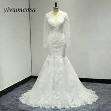 Vestido de noiva prince Wedding dresses 2017 Appliques Lace Long Sleeves Wedding dress sexy Mermaid bridal gowns robe de mariee