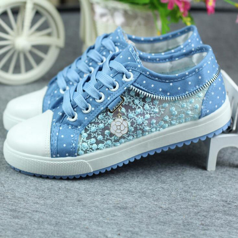 Womens denim Shoes 2016 Spring new low fashion Beautiful Breathable Hollow Canvas Flat Casual Woman Zapatillas mujer
