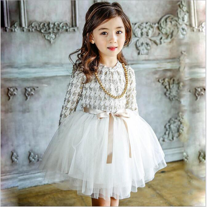 Buenos Ninos girls elegant party dress bow necklace decoration long sleeve o-neck fluffy mesh princess dress 40 смартфон prestigio wize k3 green psp3519duogreen