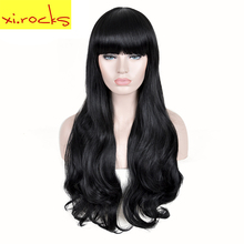 3092 Xi.Rocks Long Ombre Black WIG Rapunzel High Density Temperature Synthetic Wig For Black/White Women Wavy Cosplay Hair Wig black and white ombre long wavy side bang synthetic fashion lolita harajuku cosplay wig for party