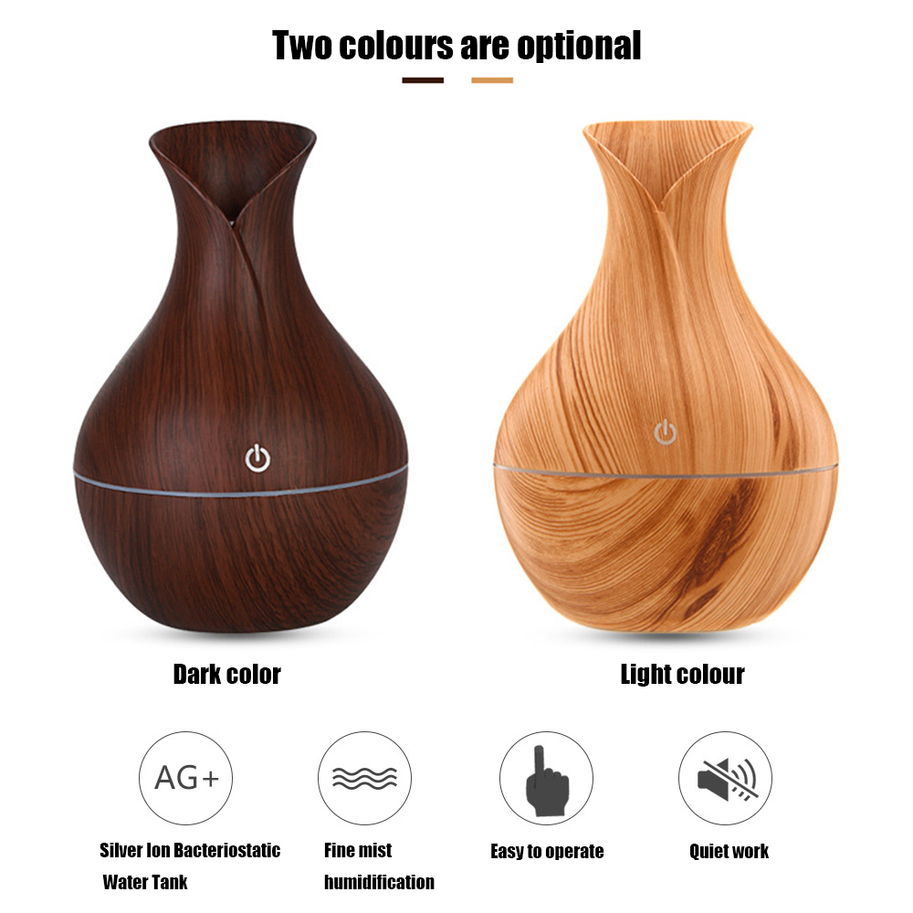 130ml USB Electric Aroma Air Diffuser Wood Ultrasonic Air Humidifier Essential Oil Aromatherapy Cool Mist Maker For Home in Humidifiers from Home Appliances