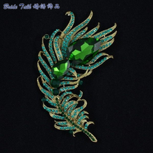 New 2015 Vintage Style Drop Crystal Rhinestone Brooches Green Peacock Feather Broach Pins for Women Jewelry Free Shipping 5038