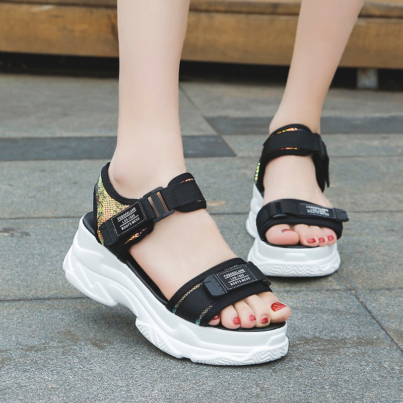 HTB1Hpnqd21H3KVjSZFBq6zSMXXaP - Fujin Summer Women Sandals Buckle Design Black White Platform Sandals Comfortable Women Thick Sole Beach Shoes