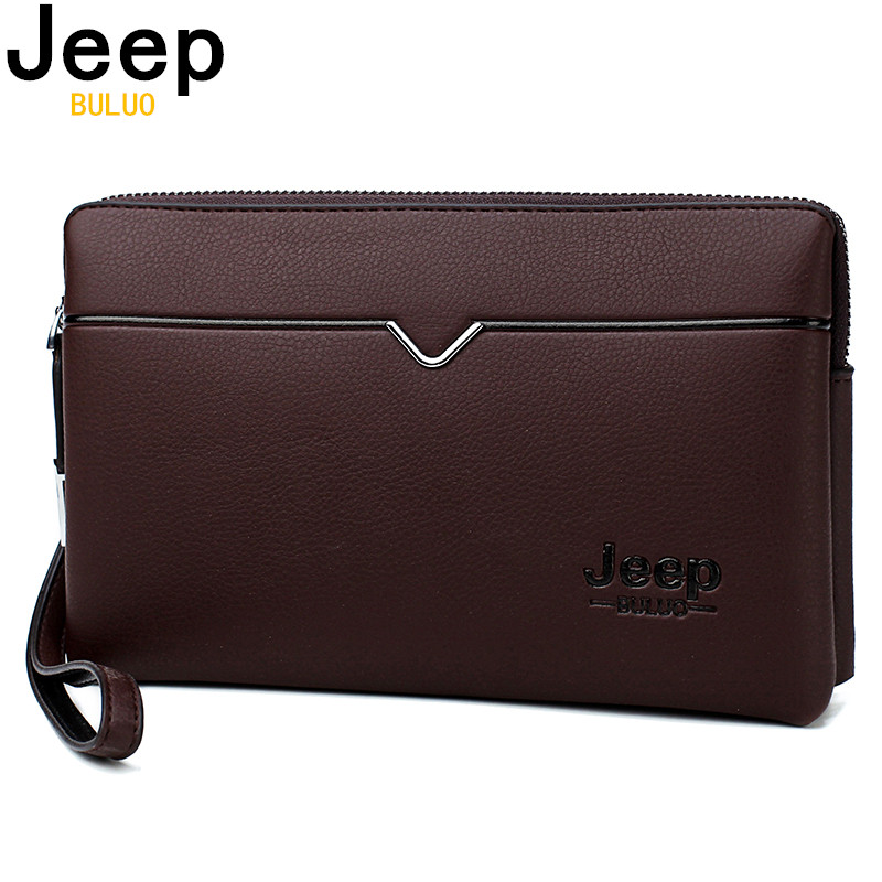 JEEP BULUO Men's Day Clutch Bags Luxury Brand High Quality Handbag Spilt Leather Long Large Women Wallets Hand Bag Business