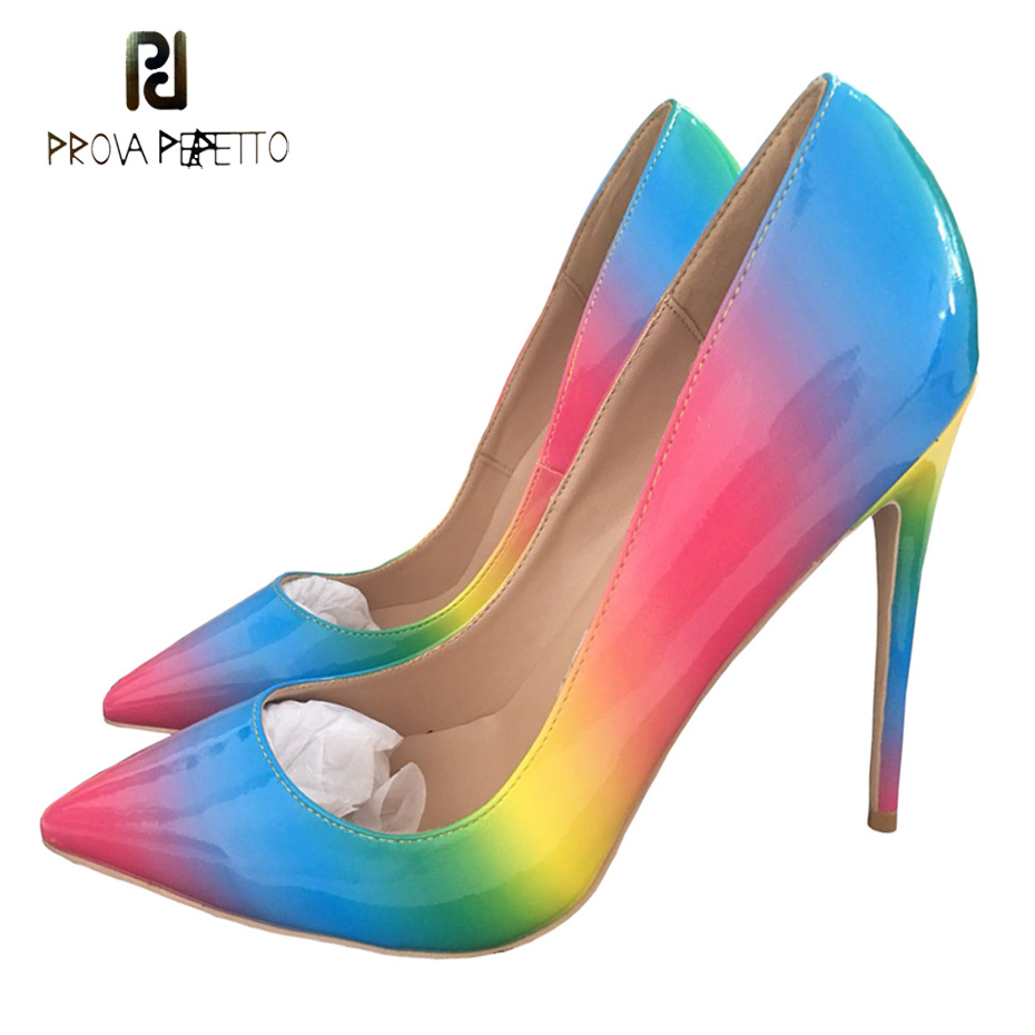 Prova Perfetto rainbow printed leather women pumps pointed toe stiletto heel shallow office shoes mixed color