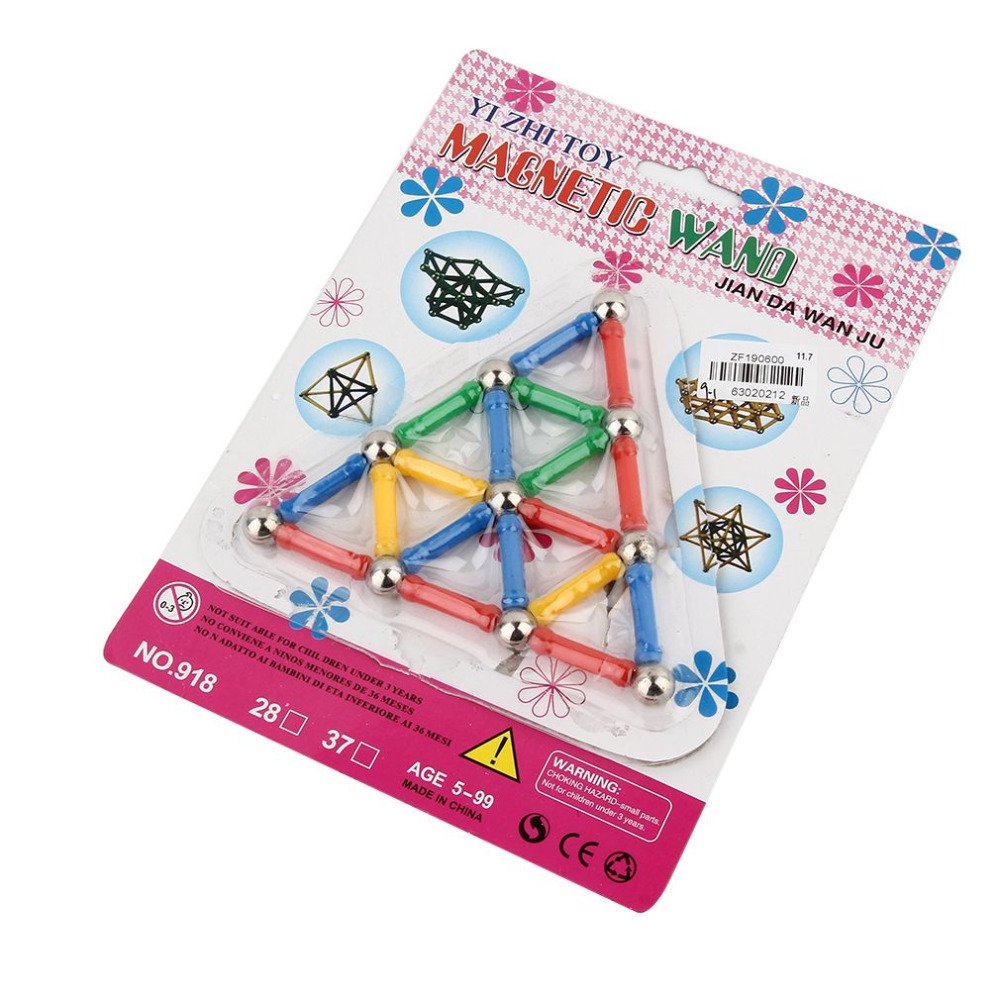 OVDAY 28 Pcs/Set Three Dimensional Magnetic Designer Rods Manual Material Magnetic Blocks Educational Toys For Children Gifts