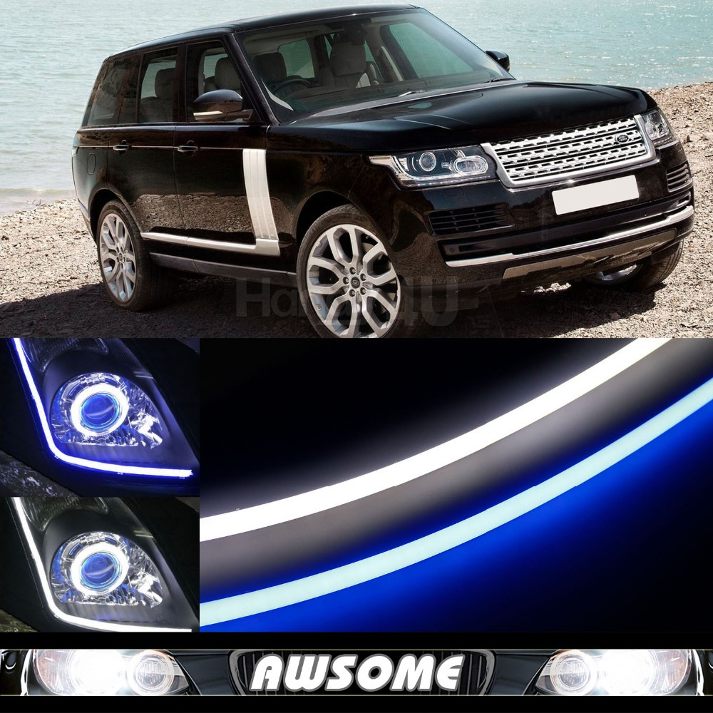 2x 60cm DRL Flexible LED Tube Strip Style Car Headlight Light Blue/White Switchback For Range Rover Sport Evoque LR2 Freelander car styling 2x white blue red yellow green flexible tube style headlight headlamp strip angel eye drl decorative light parking