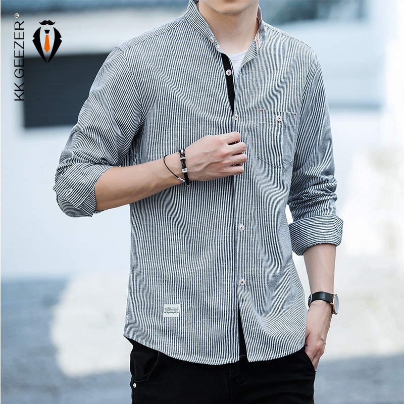 Fiere Mens Long-Sleeve Autumn Single Breasted Oversized Casual Shirt