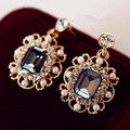 Fashion Women Jewelry Green Grey Gem Vintage Square Earring Female Pearl Stud Earrings 5E251