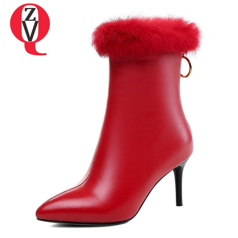 ZVQ woman shoes 33-40 sexy dress party booties women pointed toe genuine leather high heels lady zipper red big size ankle boo ladies western style sexy elegant ankle strap big size 4 to 15 soft suede genuine leather pointed toe shoes green white red