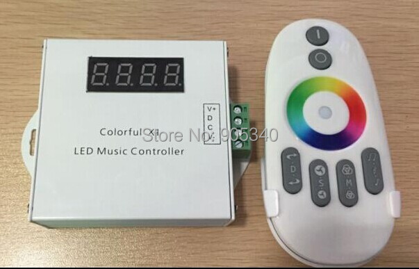 New Colorful Led Music Controller DC12V Max 18A With Remote Controller For 5050 RGB Led Strip Light free shipping dmx512 digital display 24ch dmx address controller dc5v 24v each ch max 3a 8 groups rgb controller