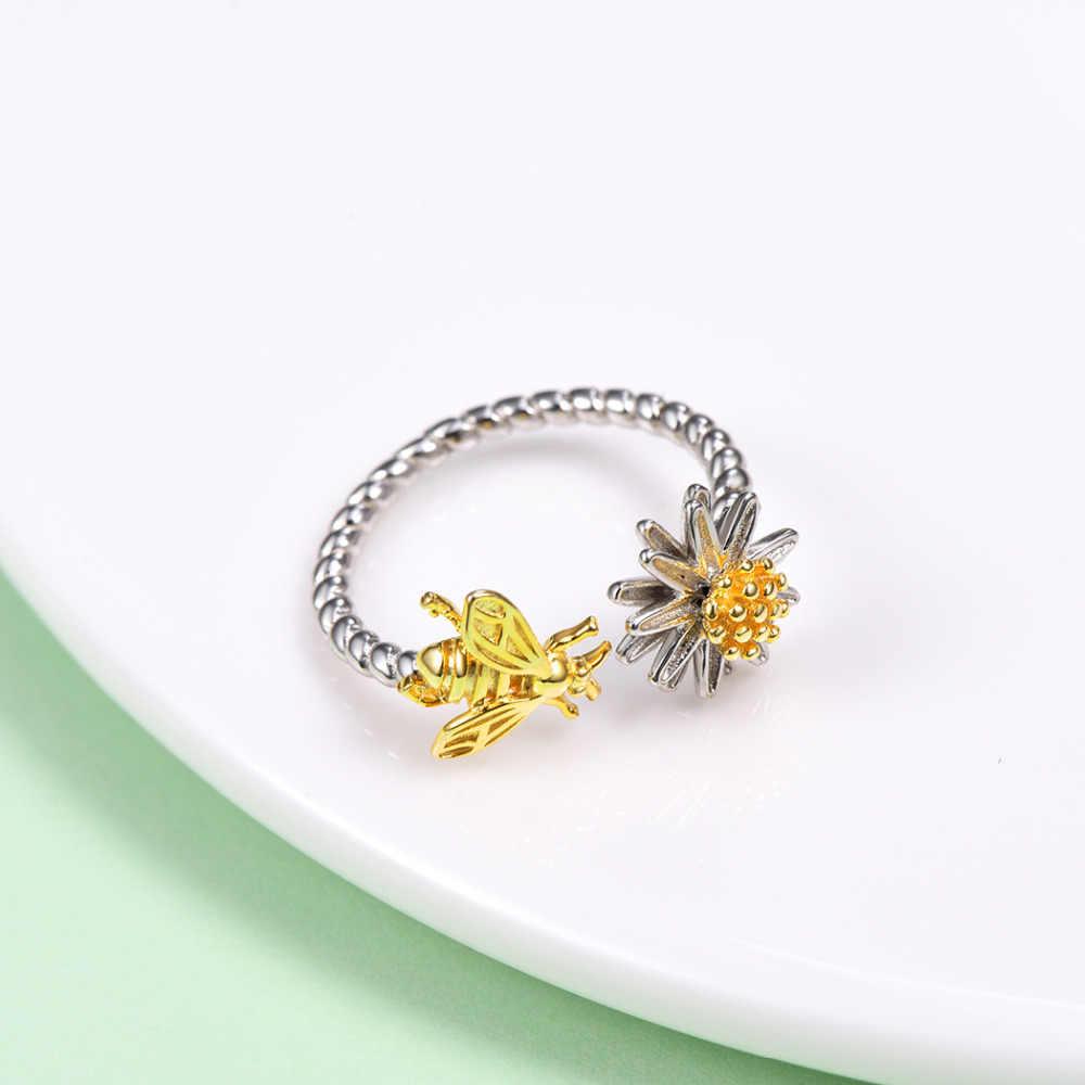 U7 925 пробы серебро желтый Цвет милый цветок Мёд пчела открыть Размеры кольца для девочек Для женщин любителей ювелирных подарок палец кольцо SC152