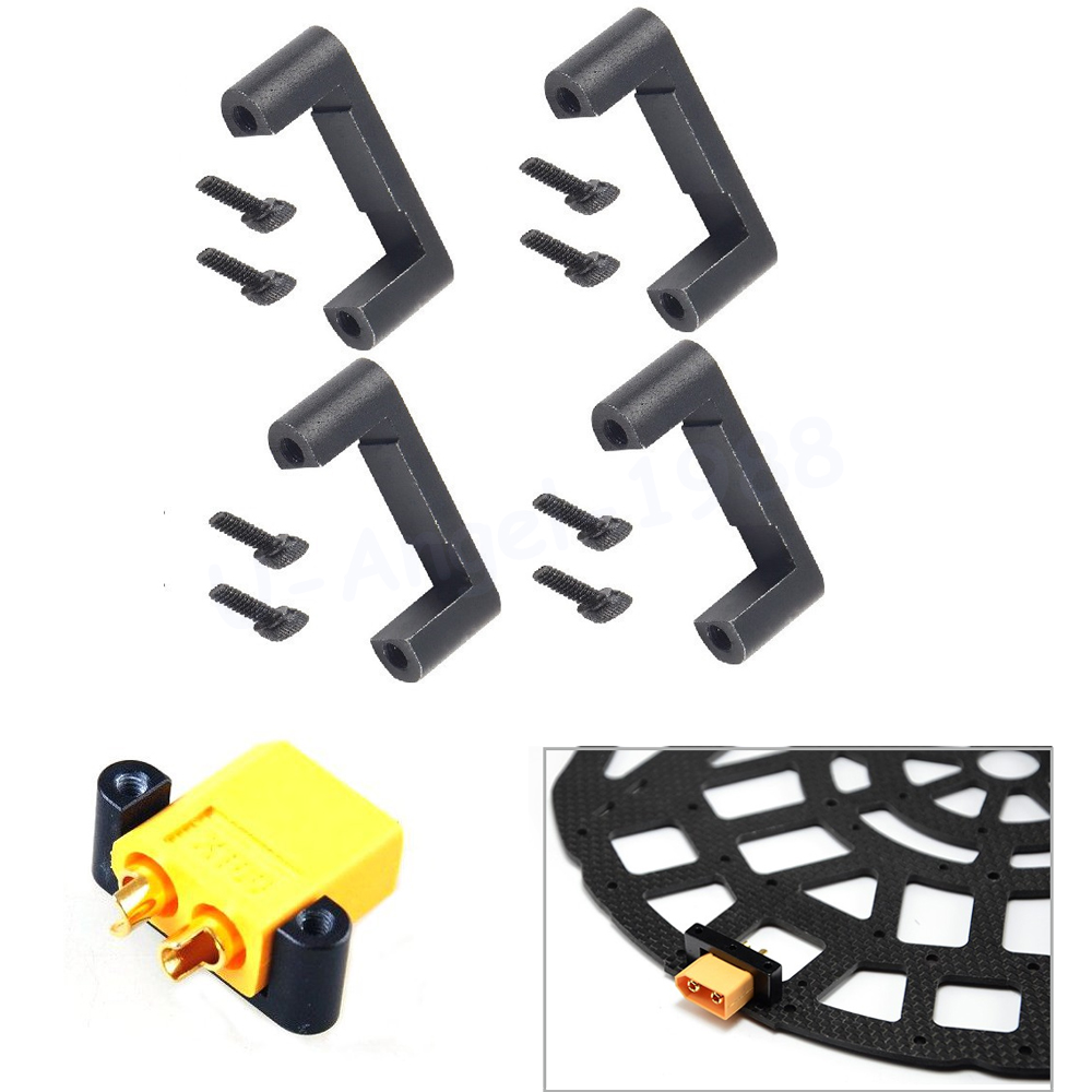 4pcs lot CNC XT60 Plug Holder Connector Installation Bracket for RC Multicopters Drone Spare Part