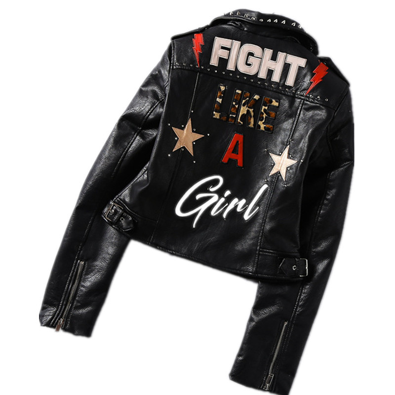 2019 Spring New fashion brand Thailand style rivet beading graffiti embroidery cartton locomotive Pu leather short jacket wq846