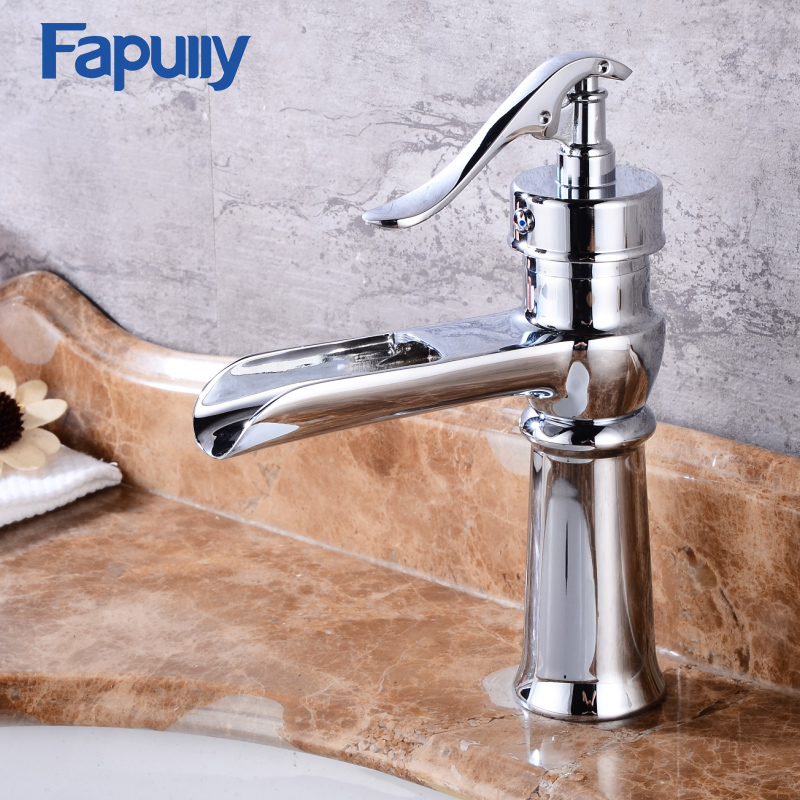 Fapully Single Lever Vanity Sink Mixer Tap Bathroom Washing Chrome Brass Waterfall Bathroom Basin Faucet