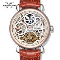 Top Brand Watches GUANQIN Luxury Tourbillon Automatic Mechanical Watches Men Antique Big Dial Sapphire Waterproof Men