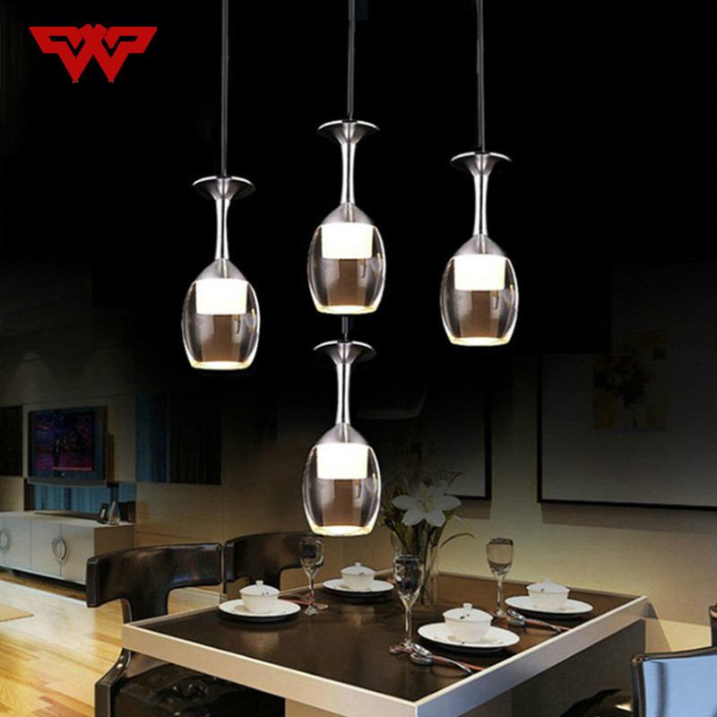 Fashionable red wine cup LED simple modern dining chandelier bar coffee shop milk tea shop lamps modern Yakley chandelie цена 2017