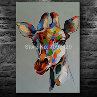 The Head Of Giraffe Colurful Paintings Handmade Hot Picture For Living Room Decorations Canvas Painting Oil Wall Pictures