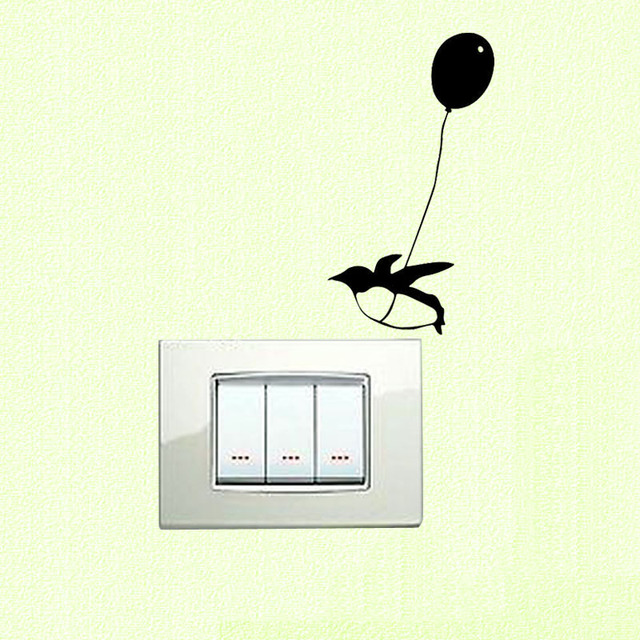 cartoon art vinyl flying balloon penguin wall switch sticker decal