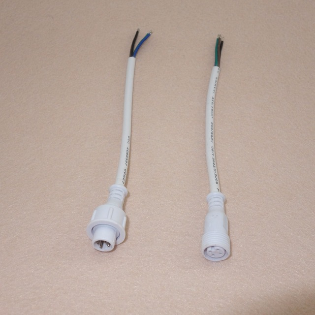 50 pairs 4 Core White Waterproof pigtail;20cm long each;male and female;male connector's diameter:13.5mm;18AWG wire