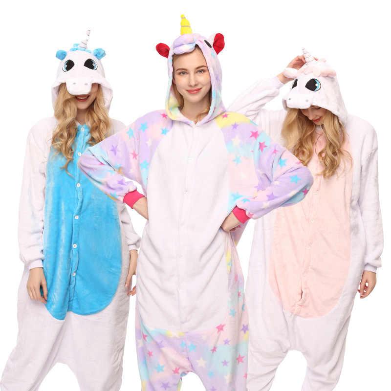 2018 фланель животных женские пижамы для мужчин взрослых комбинезоны  Единорог панда стежка косплэй зимние теплые пижамы 441d9c0b14eef