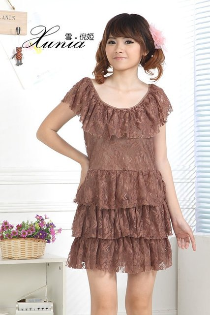 788101 new arrival big falbala Collar Top Lace  girls' dresses Wholesale & retail + Free shipping