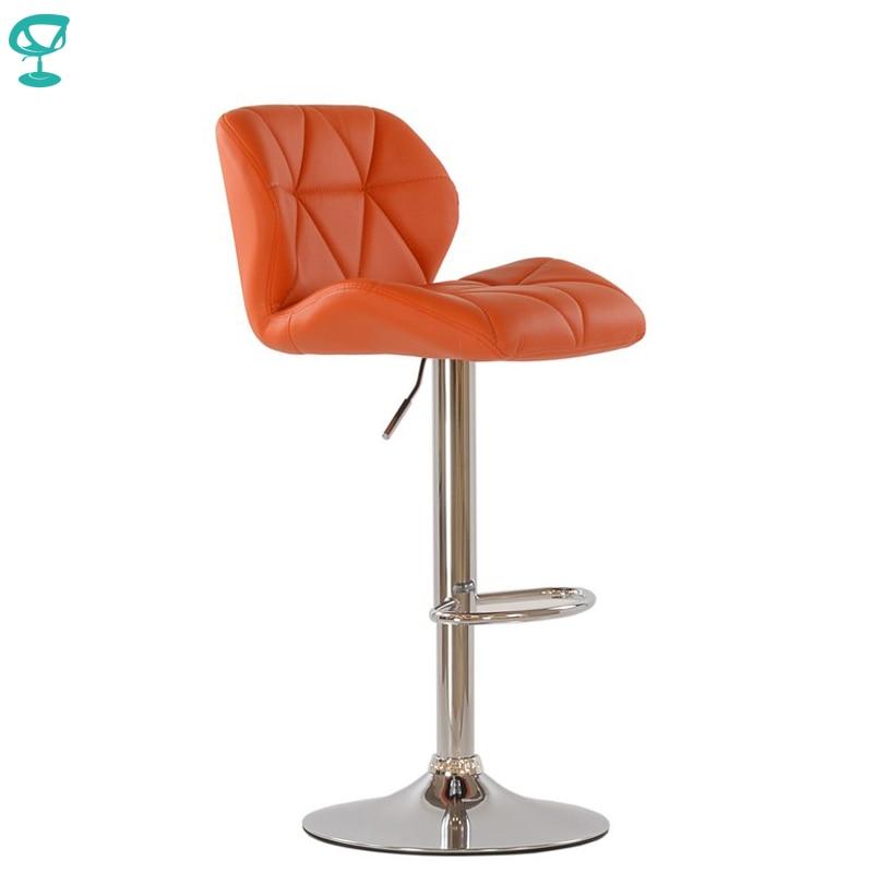 95340 Barneo N-85 Leather Kitchen Breakfast Bar Stool Swivel Bar Chair Orange Color Free Shipping In Russia