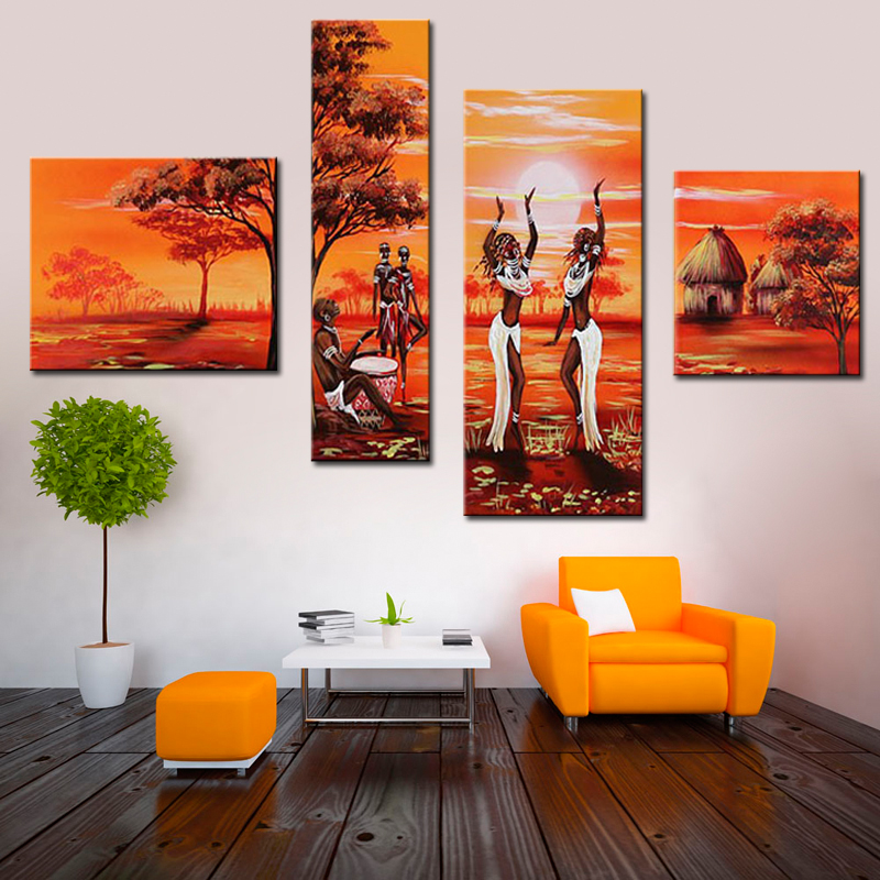 Home Decor Painting Calligraphy Landscape The African Tribal Life Dancing Women For Living Room Wall Decor 4 Panel Set Unframed