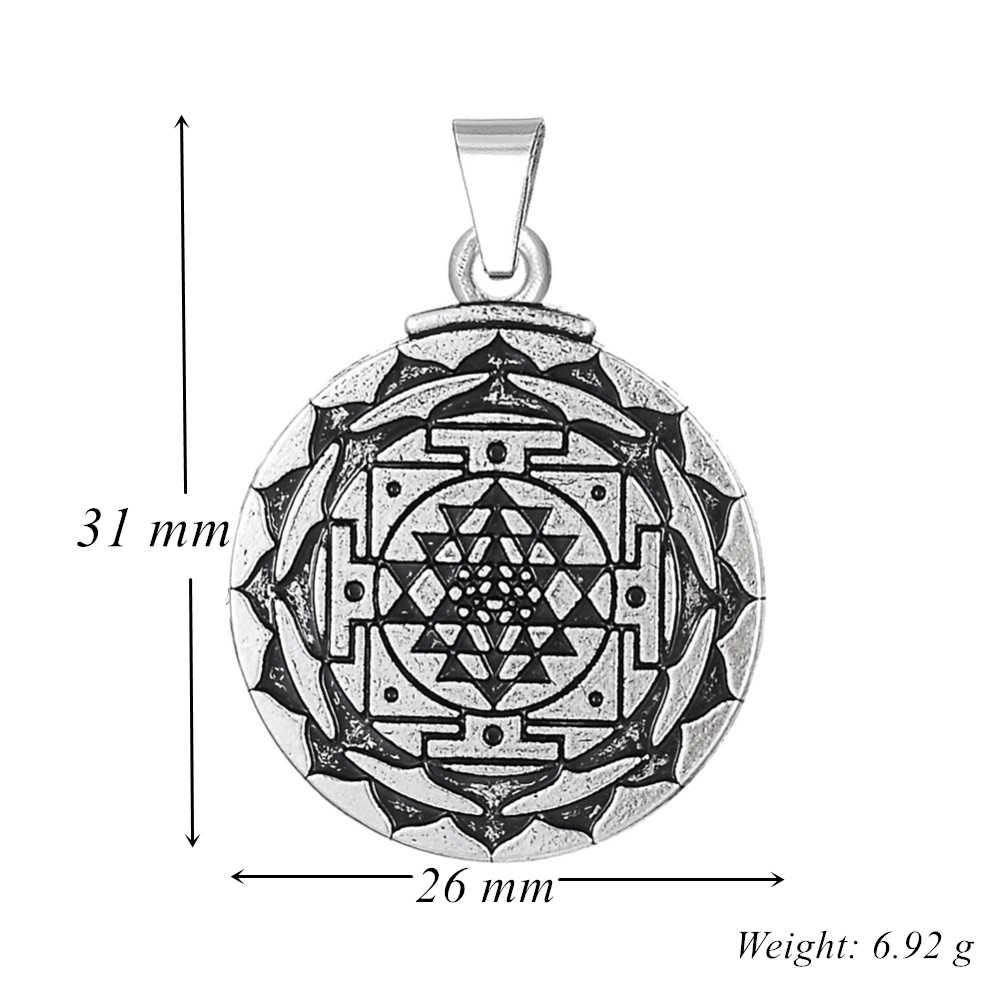 Dawapara Antieke Zilveren Chakra 3rd Eye Hindoe Godin Yoga Sri Yantra Wicca Rijkdom Hanger Charm Bedels Voor Armbanden Maken