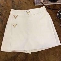 Женские однотонные шорты Лето 2019 с высокой талией Прямые шорты Мода Высокое качество женские новые шорты
