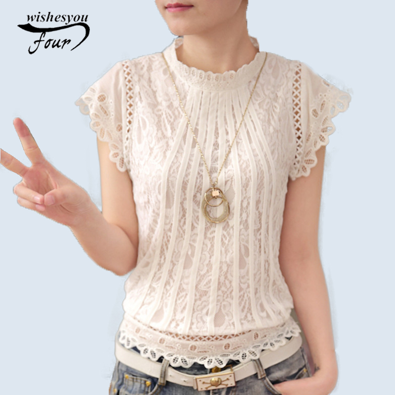 New 2017 Summer Fashion Style Women Blouses Loose Short Petal Sleeve Floral Lace Tops Chiffon O-neck Plus Size Shirt Tops 01C 35