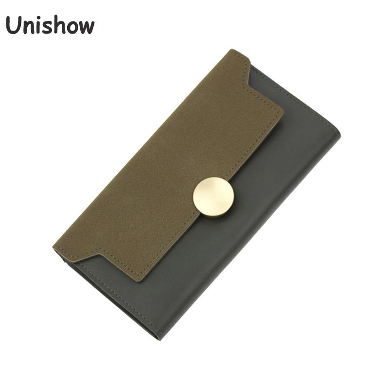 Unishow Women Long Wallet Vintage Matte Pu Leather Women Purse Simple Elegant Casual Thin Wallet Female Lady Clutch Purse