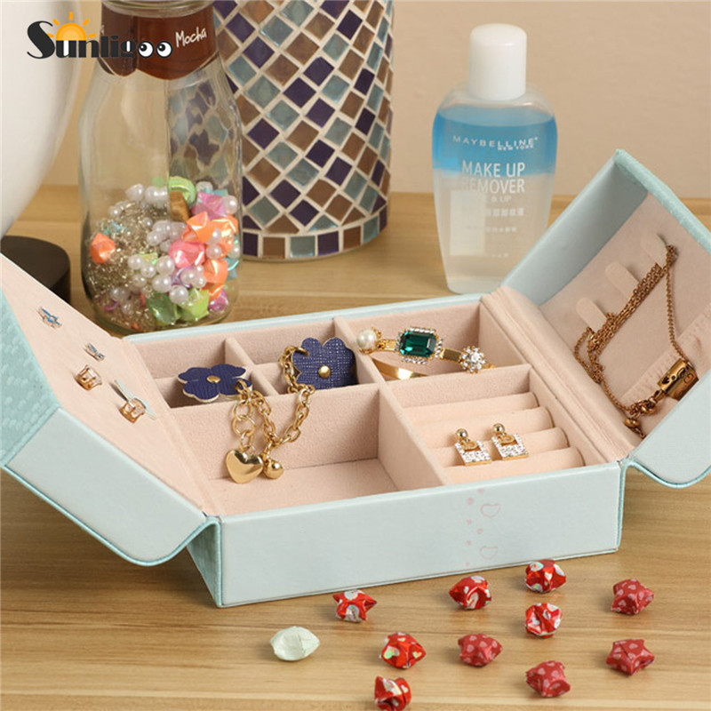 Sunligoo Hot 1pc Vintage Small Jewelry Box Organizer Makeup Organizer Case Leather Magnetic Lock Rings Earrings Organizer Casket ...