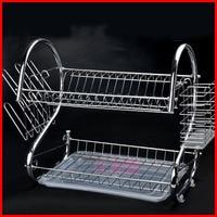 Factory Outlet S Type Dish Rack Double Bowl Rack 9 Kitchen Dish Rack Drain Frame Wholesale