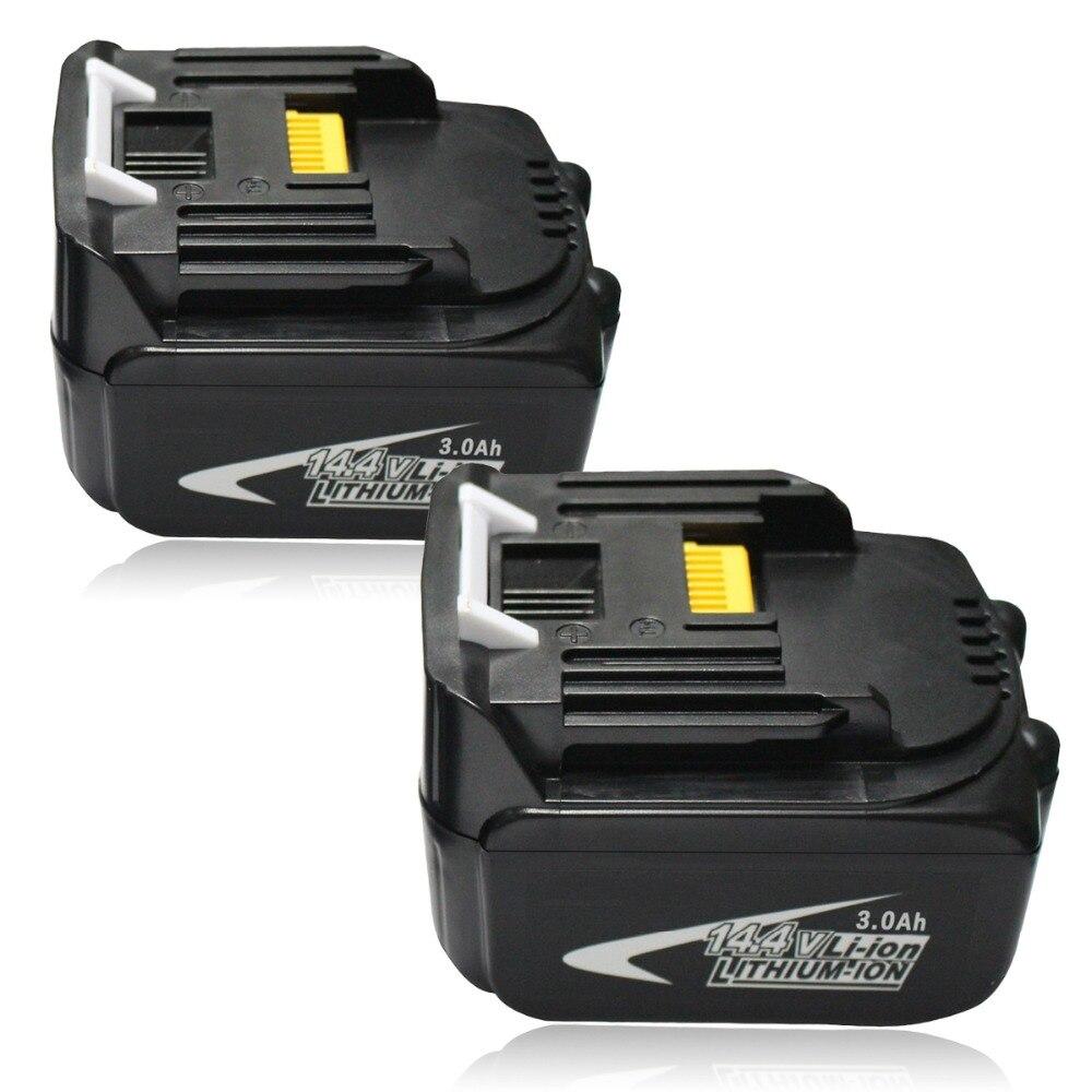 Qté 2x14.4 V 3000 mAh batterie Rechargeable Lithium-Ion BL1430 pour outils sans fil Makita BL1440 DA340DRF BDF343 194558-0 194559-8