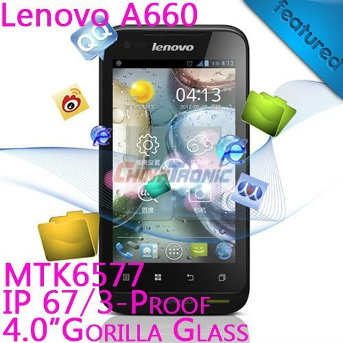 "Original Lenovo A660 Multi-language Android4.0+MTK6577 Dual-core 1G 3-proof Dual-SIM 4.0""WVGA 512M RAM+4GB ROM Fast Shipping"