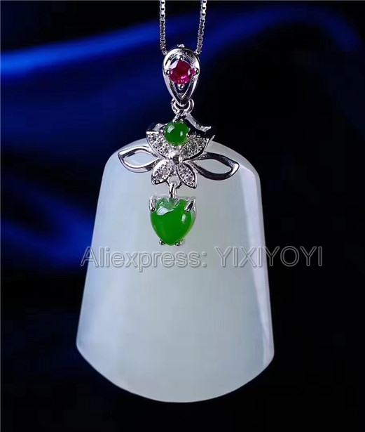 Beautiful Real 925 Silver White Green HeTian Jade Large Strip Dangle Lucky Pendant + Free Necklace Fine Jewelry CertificateBeautiful Real 925 Silver White Green HeTian Jade Large Strip Dangle Lucky Pendant + Free Necklace Fine Jewelry Certificate