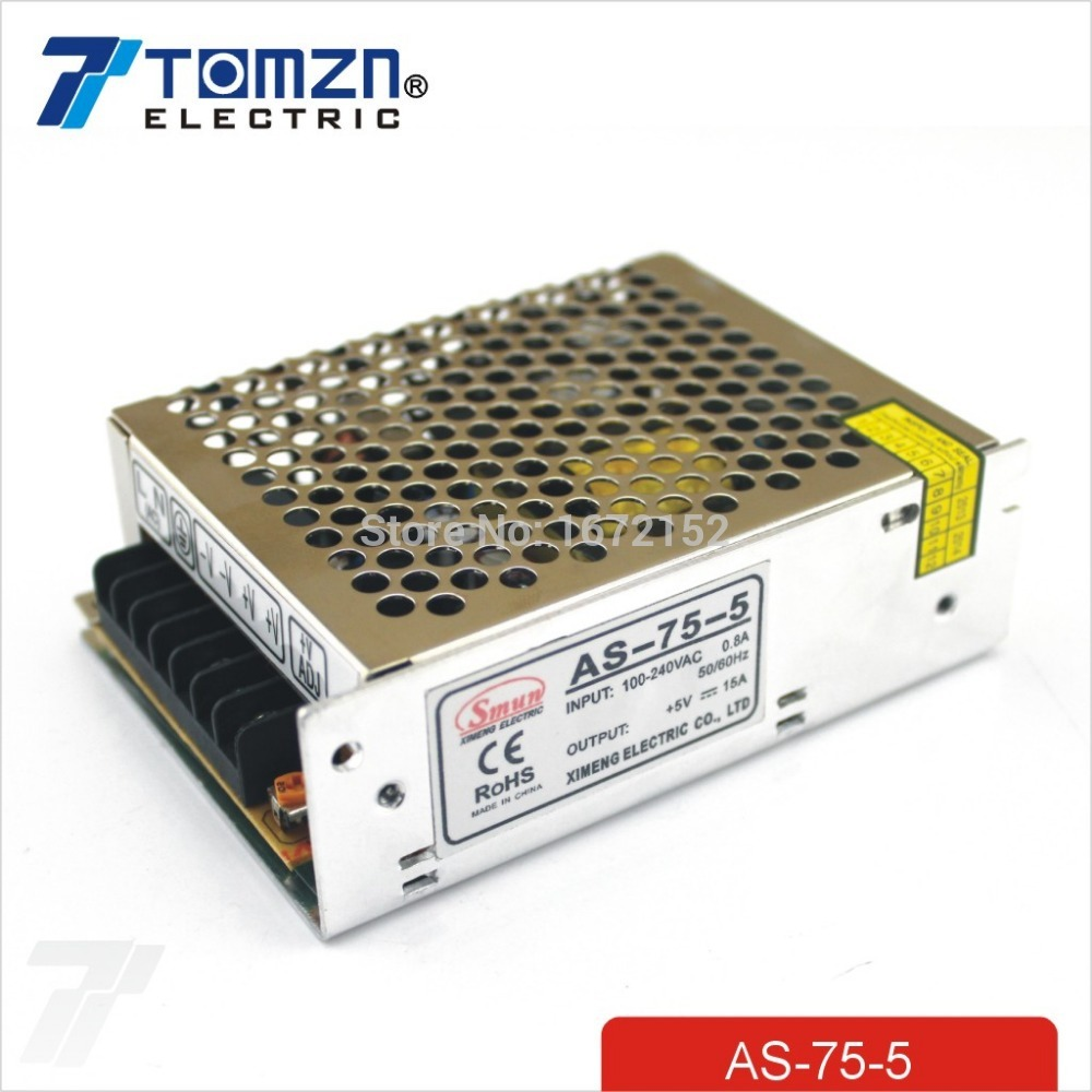 75W 5V 15A Small Volume Single Output Switching power supply for LED Strip light