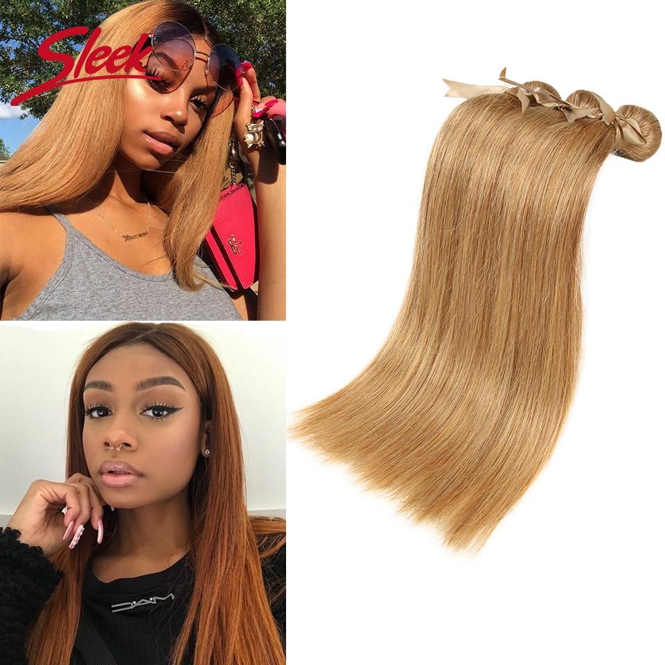 Vison elegante cabelo brasileiro tecer pacotes 10 a 26 polegadas extensão do cabelo mel loira em linha reta colorido #27 pacotes de cabelo remy alta