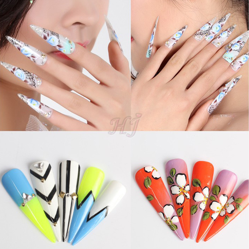 500pcs Half Cover Long Stiletto Sharp Ending Acrylic False Fake Nails Tips Nail Art Designs Manicure Artificial Salon Tip In From Beauty