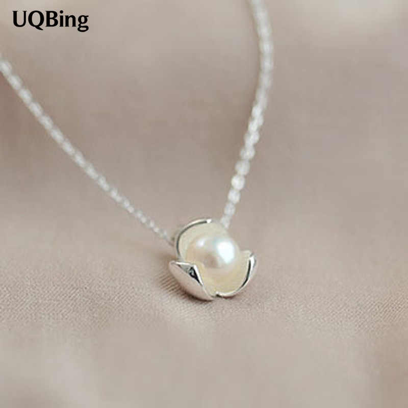 925 Sterling Silver Necklaces Pure Sterling Silver Pearl Pendant Necklace Jewelry Collar Colar de Plata