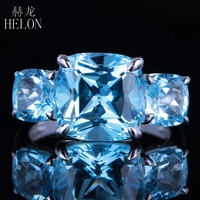 HELON 10x10mm Cushion Sky Blue Topaz Three Stones Engagement Wedding Fine Ring 10K White Gold Pave