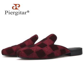Piergitar 2019 Handmade burgundy colors men velvet slippers Classic men's mules Fashion party and show men shoes plus size